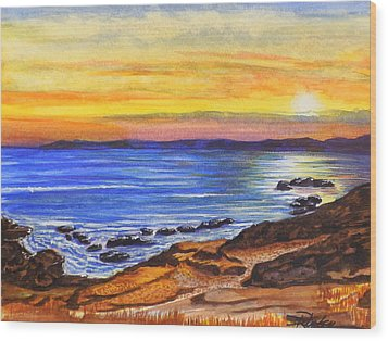 Wood Print featuring the painting Golden Cove by Darren Robinson