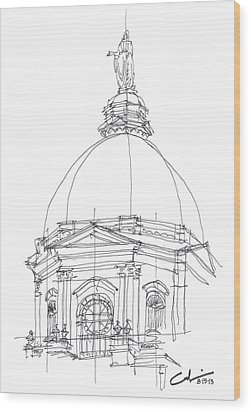 Wood Print featuring the drawing Golden Dome Sketch by Calvin Durham