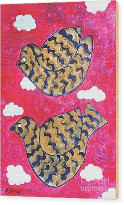 Golden Doves Pink Sky Wood Print by Caroline Street
