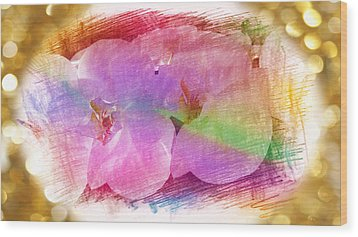 Golden Dreams Of Orchids Wood Print