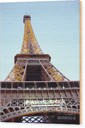 Wood Print featuring the photograph Golden Eiffel by Deborah Smolinske