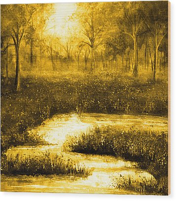Golden Evening Wood Print by Ann Marie Bone
