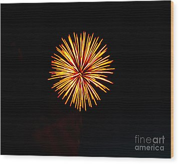 Golden Fireworks Flower Wood Print by Robert Bales