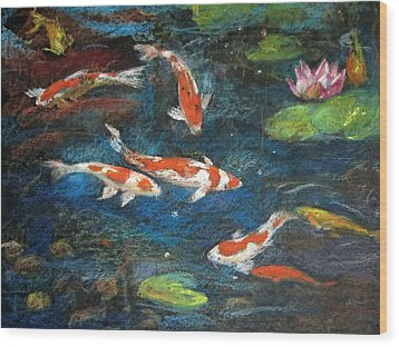 Wood Print featuring the painting Golden Fish by Jieming Wang