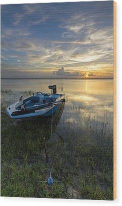 Golden Fishing Hour Wood Print by Debra and Dave Vanderlaan