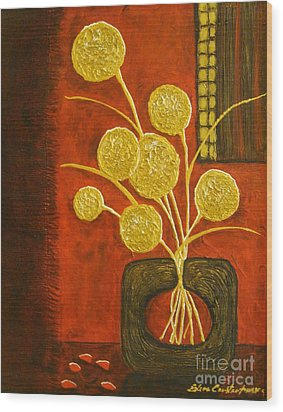 Golden Flowers Wood Print by Elena  Constantinescu
