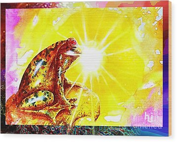 Wood Print featuring the mixed media Golden Frog by Hartmut Jager