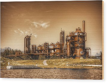 Golden Gas Works Wood Print by Spencer McDonald