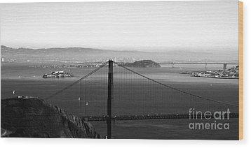 Golden Gate And Bay Bridges Wood Print by Linda Woods