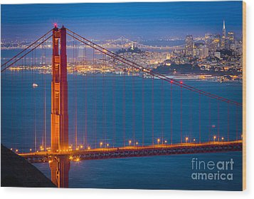 Golden Gate And San Francisco Wood Print by Inge Johnsson