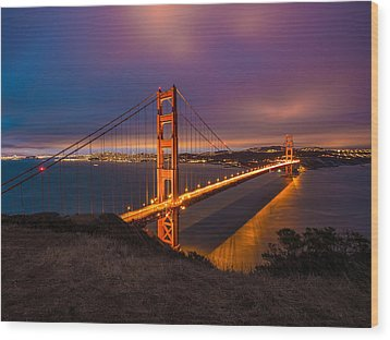 Golden Gate At Twilight Wood Print by Mike Lee