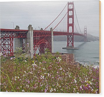 Golden Gate Bridge And Summer Flowers Wood Print by Connie Fox