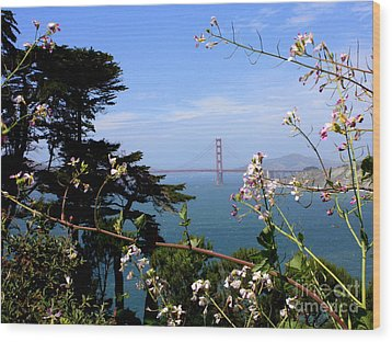 Golden Gate Bridge And Wildflowers Wood Print by Carol Groenen