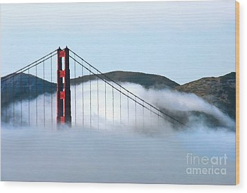 Golden Gate Bridge Clouds Wood Print