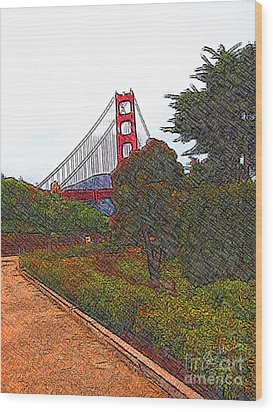 Golden Gate Bridge Crosshatch Wood Print