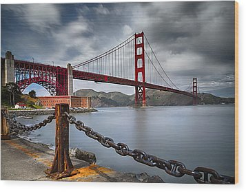 Golden Gate Bridge Wood Print by Eduard Moldoveanu