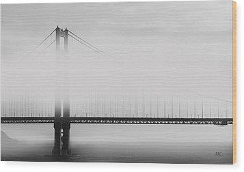 Golden Gate Bridge - Fog And Sun Wood Print by Ben and Raisa Gertsberg