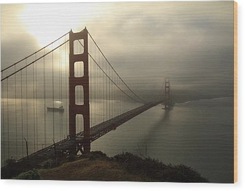 Wood Print featuring the photograph Golden Gate Bridge Fog Lifting by Scott Rackers