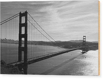 Golden Gate Bridge In Black And White Wood Print