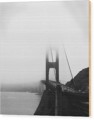 Golden Gate Bridge In Fog ... Sausalito Side Wood Print by Chuck Caramella
