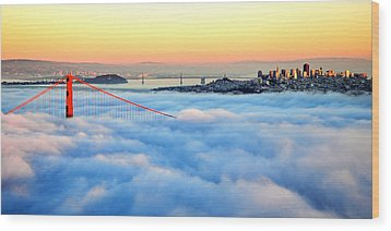 Golden Gate Bridge In Fog At Sunset Wood Print