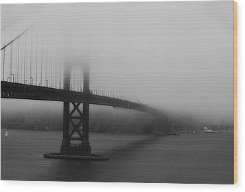 Wood Print featuring the photograph Golden Gate Bridge In Fog by Chuck Caramella