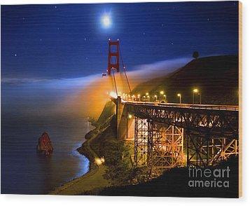 Golden Gate Bridge Moon Fog Mystery Wood Print by Wernher Krutein