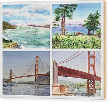 Golden Gate Bridge San Francisco California Wood Print by Irina Sztukowski