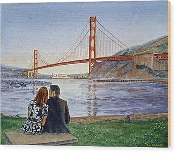 Golden Gate Bridge San Francisco - Two Love Birds Wood Print