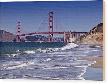 Golden Gate Bridge - Seen From Baker Beach Wood Print by Melanie Viola