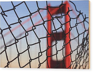 Golden Gate Bridge Through The Fence Wood Print