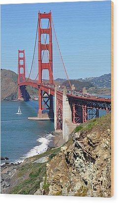 Golden Gate Wood Print by Gina Savage