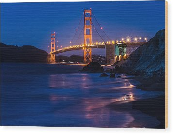 Golden Gate Glow Wood Print