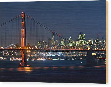 Wood Print featuring the photograph Golden Gate Night 10-26-10 by Christopher McKenzie