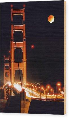 Golden Gate Night Wood Print by DJ Florek
