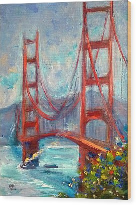 Golden Gate Oil Sketch Wood Print