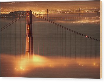 San Francisco - Golden Gate On Fire Wood Print