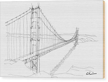 Golden Gate Sketch Wood Print by Calvin Durham