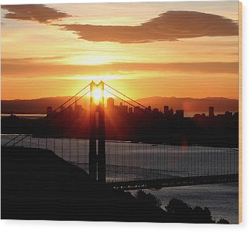 Wood Print featuring the photograph Golden Gate Sunrise 12-2-11 by Christopher McKenzie
