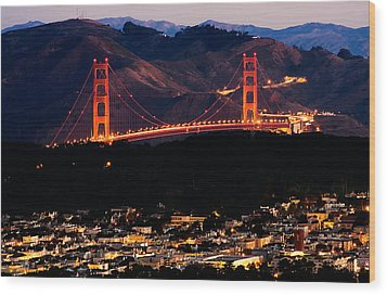 Golden Gate Sunrise Wood Print