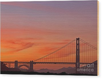 Golden Gate Sunset Wood Print by Kate Brown