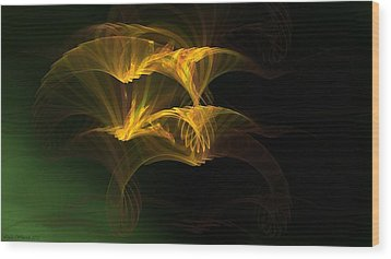 Wood Print featuring the digital art Golden Geisha by Linda Whiteside
