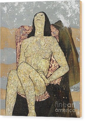 Golden Girl Reclining Wood Print