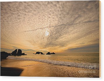 Golden Glow Of A Sunset Over Goat Rock California Wood Print by Wernher Krutein