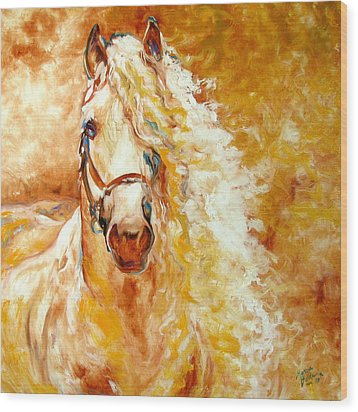 Golden Grace Equine Abstract Wood Print by Marcia Baldwin