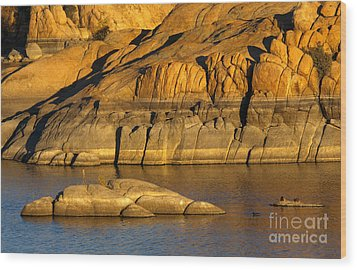Golden Granite Glow Wood Print by Mike  Dawson