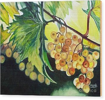 Wood Print featuring the painting Golden Grapes by Julie Brugh Riffey