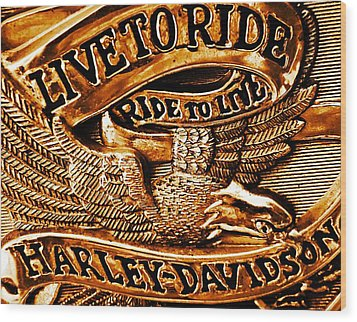 Golden Harley Davidson Logo Wood Print by Chris Berry