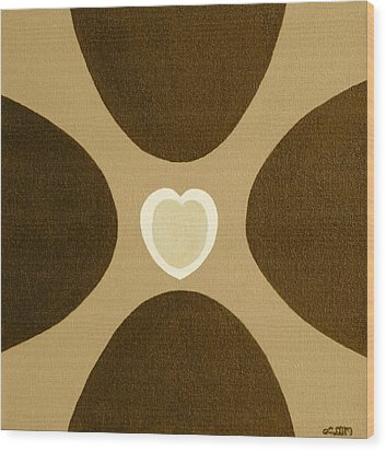 Golden Heart 3 Wood Print by Lorna Maza