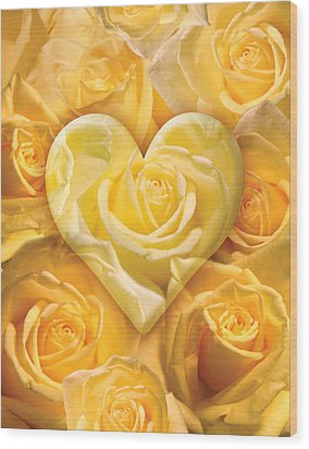 Golden Heart Of Roses Wood Print by Alixandra Mullins